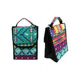 """24 of 10"""" Insulated Lunch Bag In A Dark Aztec Print"""