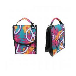 """24 of 10"""" Insulated Lunch Bag In Peace And Flower Print"""