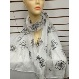 24 of Rose Print Scarf (white)