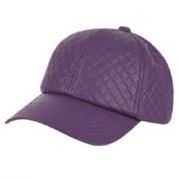 12 of Faux Leather Six Panel Quilted Cap