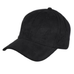 12 of Faux Suede Six Panel Plain Cap In Black