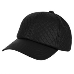 12 of Faux Leather Six Panel Quilted Cap In Black