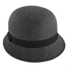 12 of Ladies Plain Poly Felt Cloche Hats W/grosgrain Band