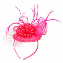 12 of Fascinator With Flower Trim In Hot Pink