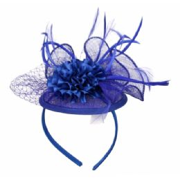 12 of Fascinator With Flower Trim In Royal