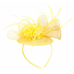 12 of Fascinator With Flower Trim In Yellow