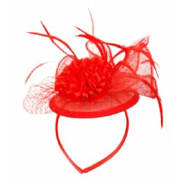 12 of Fascinator With Flower Trim In Red