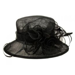 8 of Sinamay Fascinator With Flower Trim In Black
