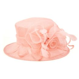 8 of Sinamay Fascinator With Flower Trim In Pink