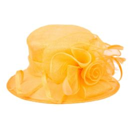 8 of Sinamay Fascinator With Flower Trim In Orange