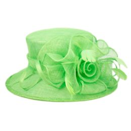 8 of Sinamay Fascinator With Flower Trim In Green