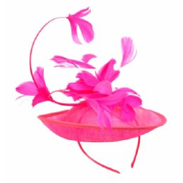 12 of Sinamay Fascinator With Flower On The Top In Hot Pink