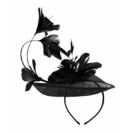 12 of Sinamay Fascinator With Flower On The Top In Black