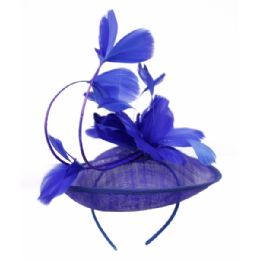 12 of Sinamay Fascinator With Flower On The Top In Royal