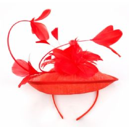 12 of Sinamay Fascinator With Flower On The Top In Red