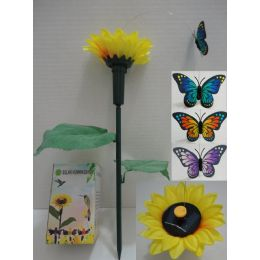 72 of Solar Yard Stake With Sunflower [butterfly]
