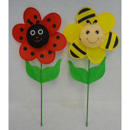"60 of 12.5"" Ladybug/bumblebee Flower Petal Wind Spinner With Leaves"