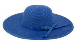 12 of Braid Straw Floppy Hats With Self Fabric Band In Royal
