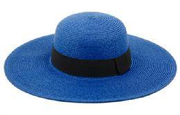 12 of Braid Straw Floppy Hats With Grosgrain Band In Royal