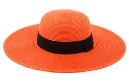 12 of Braid Straw Floppy Hats With Grosgrain Band In Orange