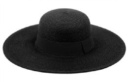 12 of Braid Straw Floppy Hats With Grosgrain Band In Black