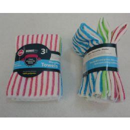 48 of 3 Piece Microfiber Towel Set [striped]