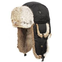 4 of Super Soft Genuine Rabbit Fur Bumber Trapper Winter Hats In Black