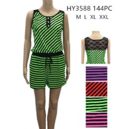 48 of Womens Fashion Summer Striped Romper With Tied Waste