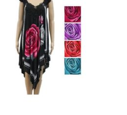 24 of Womens Fashion Summer Dress High Low With Rose In Assorted Color