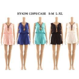 60 of Womens Fashion Summer Romper With Tied Neck And Gathered Waist Assorted Color And Size