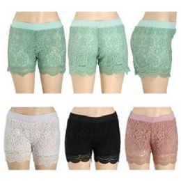 12 of Crochet Shorts With Lacey Fringe Assorted Colors