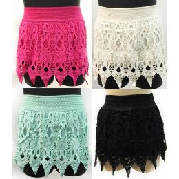12 of Solid Color Crochet Shorts With Fringes Assorted Sizes