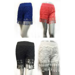 12 of Wholesale Solid Color Lace Shorts With Fringes Assorted Sizes