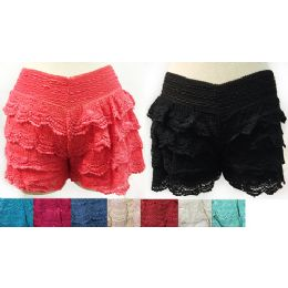 12 of Wholesale Solid Color Layered Crochet Shorts Assorted Colors
