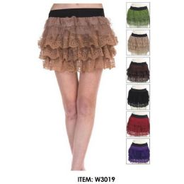 12 of Wholesale Tiered Lace Mini Skirts Assorted