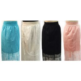 12 of Wholesale Solid Color Lace Skirt With Fringes Assorted Colors