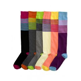 144 of Women's Colorful Striped Knee Highs