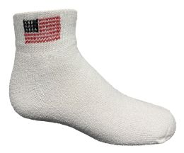 24 of Yacht & Smith Kids Usa American Flag White Low Cut Ankle Socks, Size 6-8