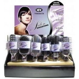 144 of Salon Sensations Silver Color Proline Hairbrushes in Display Box