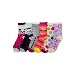 288 of Little Girls Colorful Printed Crew Socks