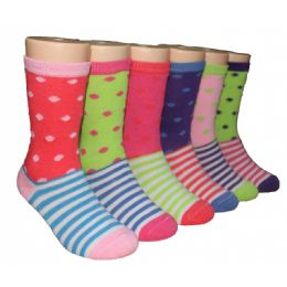 480 of Girls Polka Dot And Stripe Crew Socks