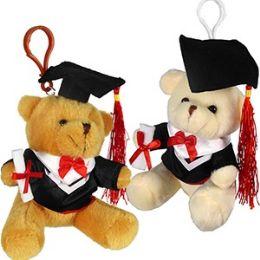 60 of Plush Graduation Bear Zipper Pull Keychains