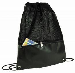 48 of Drawstring Mesh Backpack W/zipper Pocket