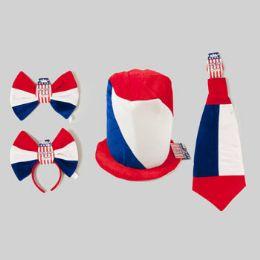36 of Patriotic Dressup Ast Velvet Hat Jumbo Hdband/tie Or Bowtie 4ast 9-12in