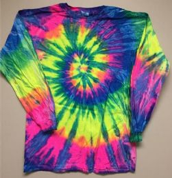 12 of Tie Dye Long Sleeve T Shirt Neon Rainbow Assorted Sizes
