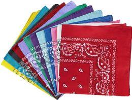60 of Assorted Cotton Bandana Mixed Prints, Mixed Colors Bulk Paisley Bandannas