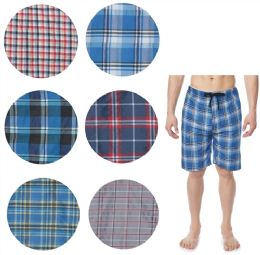 36 of Men's Cotton Pajama Bottoms Shorts In Assorted Plaid Patterns