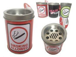 """96 of Ashtray W/ Tin Container 3""""dx4""""h"""