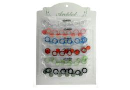 72 of Set Of Plastic Ankle Bracelets Including Plastic Rings Connected By A Few Chain Links And A Circle Shaped Jewel Spacer Charm Between Each