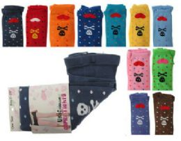 48 of Assorted Colored Capri Tights With Skull And Heart Designs